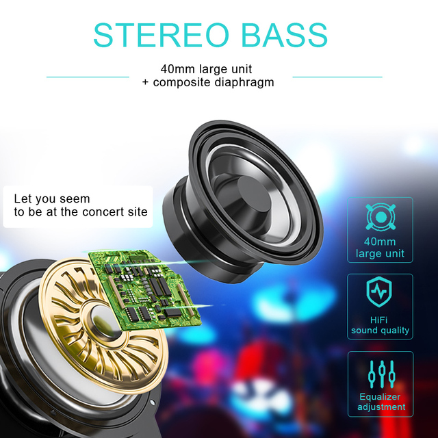 B39 LED Colorful Breathing Lights Bluetooth 5.0 Headphone Portable Folding Wireless Headset Earphone With Mic FM Support TF Card 2