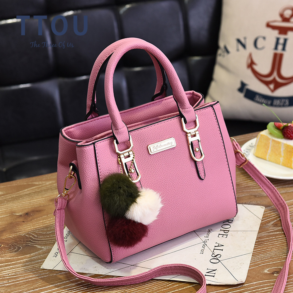 Fashion High Quality Hair Ball Deco Women Handbag Female Shoulder Bag Solid Messenger PU Leather Office Ladies Crossbody Bag