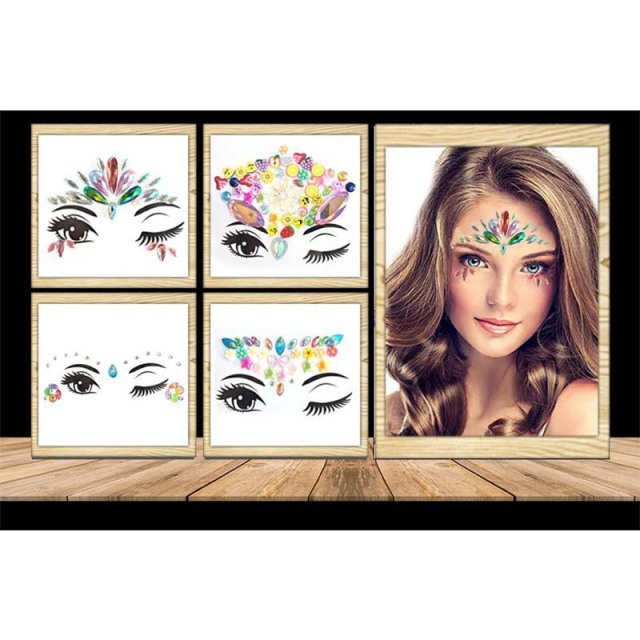Rhinestone festival Face jewels sticker Fake Tattoo Stickers Body Glitter Tattoos Gems Flash for Music Festival Party Makeup 4
