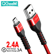 QGeeM Micro USB Cable 2.4A Nylon Fast Charge USB Data Cable for Samsung Xiaomi LG Tablet Android Mobile Phone USB Charging Cable