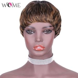 Wome venic onda perucas curtas pixie corte 100% peruca de cabelo humano para as mulheres completa máquina feita cabelo remy brasileiro cor natural loira
