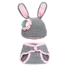 Baby Hat and Shorts set Handmade Crochet Cute Rabbit  Newborn Photography Props Baby gilr boy Hat and Nappy 1 set newborn photography props baby photo props crochet knitting baby bunny hat rabbit hats and diaper beanies and pants costumes set