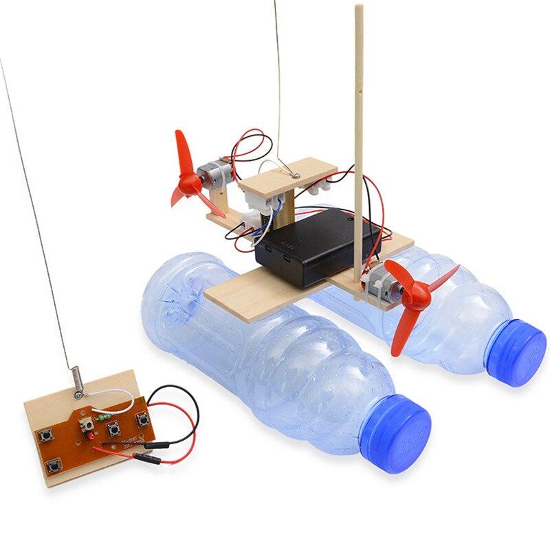 חדש עץ RC סירת ילדים צעצועי הרכבה שלט רחוק סירת צעצועי סוללה מופעל חינוכי צעצוע מדעי ניסוי דגם ערכות