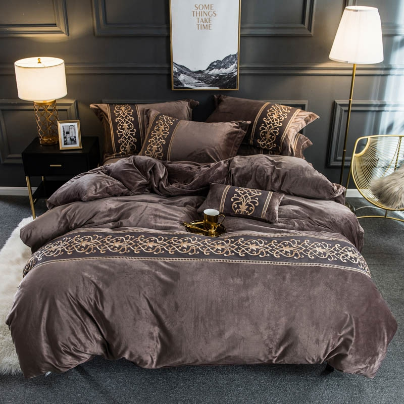Flanela de veludo macio quente capa de edredão conjunto com chique bordado rendas rainha rei tamanho 4 pçs conjunto cama com cabido/plana lençóis