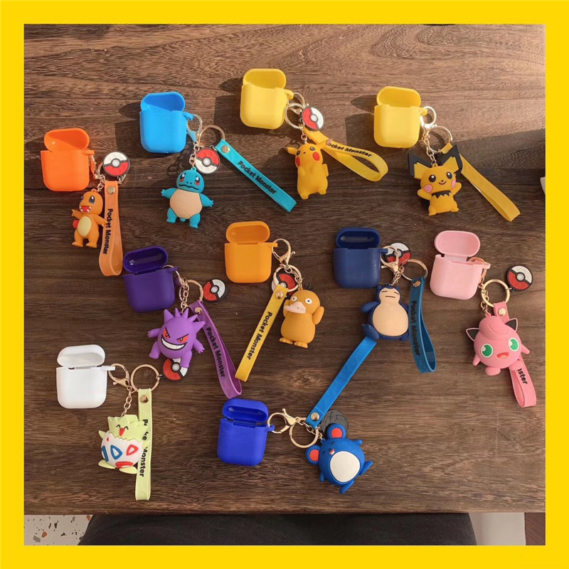 Cute Cartoon <font><b>Pikachu</b></font> Togepi Psyduck Jigglypuff Squirtle Doll Keychain <font><b>Case</b></font> For Apple <font><b>AirPods</b></font> Wireless Bluetooth Headphones Cover image