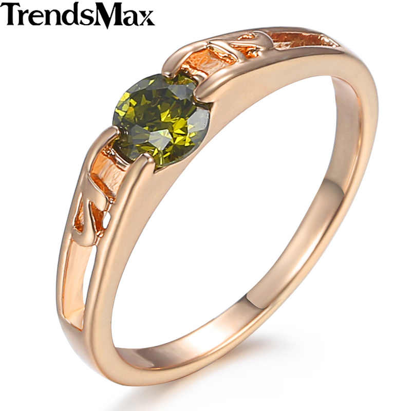 Green Cubic Zircon CZ 585 Rose Gold Ring for Women Girls Engagement Wedding Band Ring Gifts for Women GR18