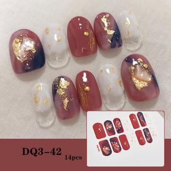 14pcs/sheet Glitter Gradient Color Nail Stickers Nail Wraps Full Cover Nail Polish Sticker DIY Self-Adhesive Nail Art Decoration 26