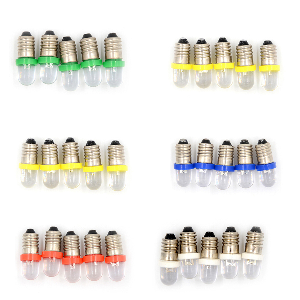 5PCS <font><b>E10</b></font> <font><b>LED</b></font> Screw Base Indicator Bulb Cold White 6V/12V/<font><b>24V</b></font> DC Light Bulb Wholesale Low Power Consumption image