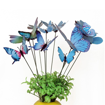 12pcs Colorful Butterfly Stakes Outdoor Yard Garden Flower Pot Decoration Craft Butterfly Stakes Decor Butterfly Stakes фото