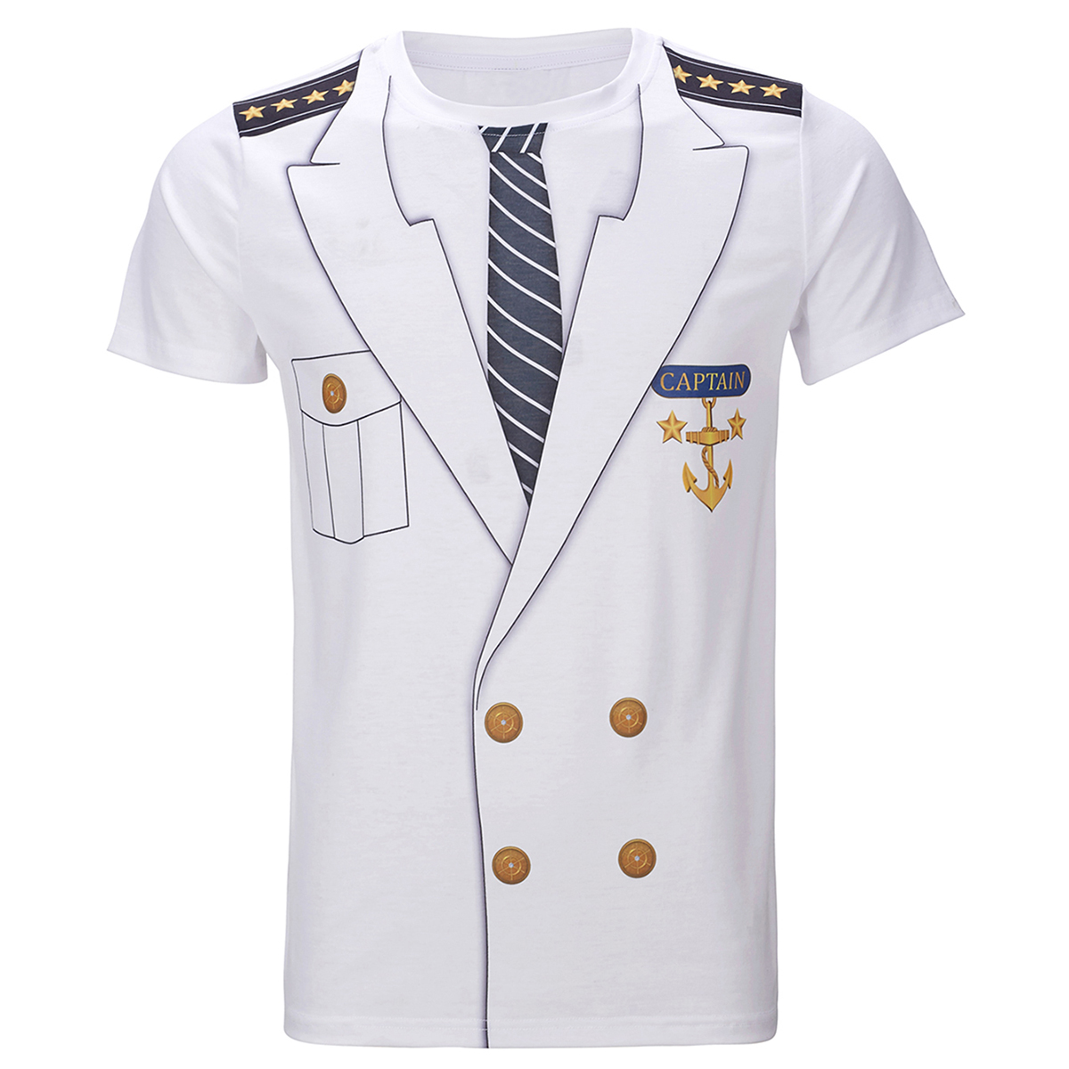 Hommes capitaine Costume T-Shirts drôle Cosplay Halloween Tee adulte homme haut Cowboy Pirate Clown pilote uniforme carnaval 3D grande taille