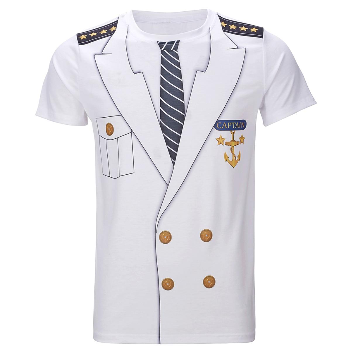 Men's Captain Costume T-Shirts Funny Cosplay Halloween Christmas Tee Adult Man Top Cowboy Pilot Uniform Carnival 3D Plus Size