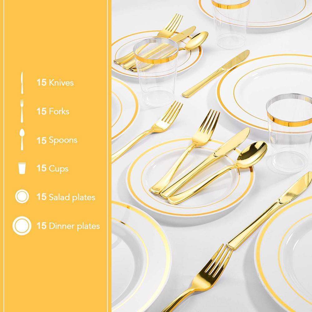 Vaisselle jetable transparente 90 pièces | Gobelets jetables en or assiettes en plastique, couteaux à fourchette, cuillères jetables service de vaisselle fournitures de table