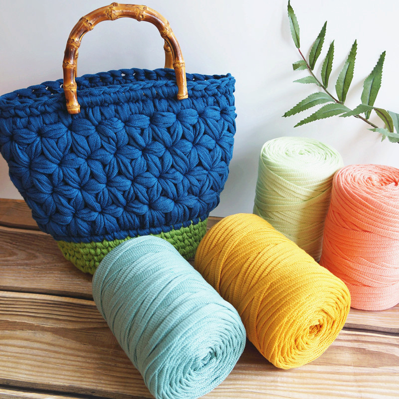 250g/100m Flat Cloth Thread For Household Hand Knitting Diy Bag Carpet Material Cloth Yarns 6mm Width Thick Thread Fancy Yarns