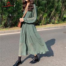 Весеннее Зеленое Длинное Платье vicone в горошек с длинным рукавом