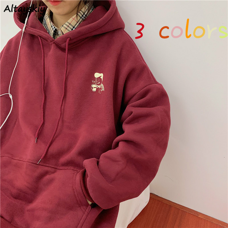 Hoodies Women Cute Printed BF Oversize 2XL Loose Daily Plus Velvet Warm Hooded Womens Pullover Chic Harajuku Fashion Ulzzang New