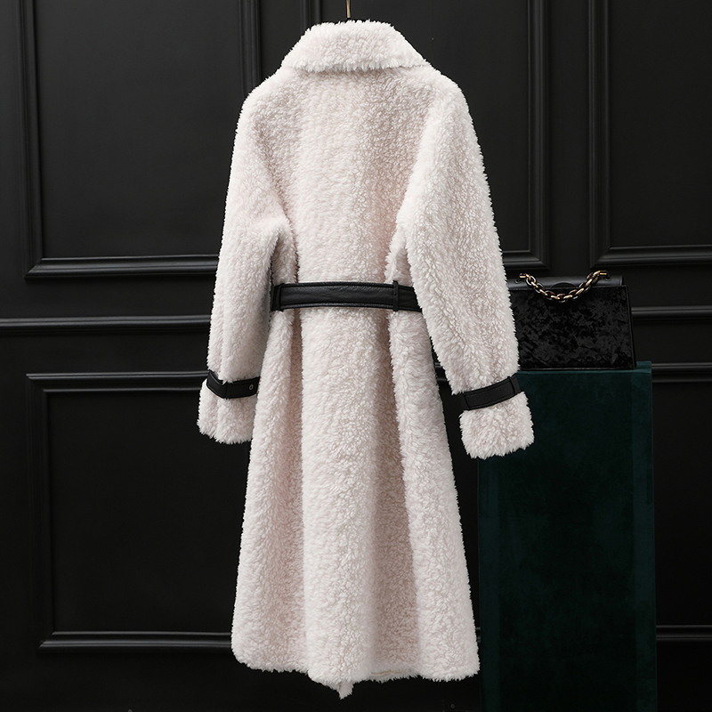 Coat Fur Real Winter Jacket Women Sheep Shearling 100% Wool Coat Female Korean Jacket With Belt Manteau Femme MY4583