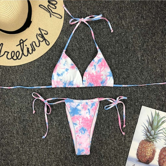 Swimwear Women Tie dye Bikini Set Bathing Suit Beachwear Push Up Swimming Swimwear Sexy Bandage Swimsuit Bikini
