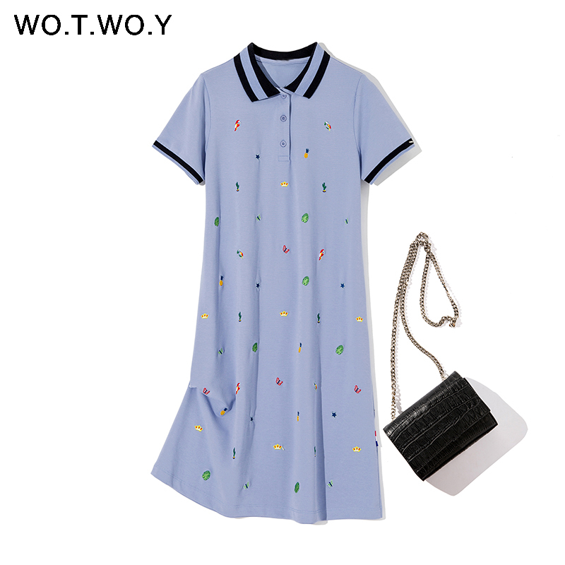 WOTWOY 2020 Spring Cotton Cartoon Embroidered Polo Dress Woman Plus Size Black Casual Knee-length Straight Dresses Female Pink(China)