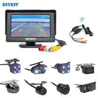 DIYKIT Wireless 4.3 Car Monitor Auto Parking System Video Night Vision Backup Reverse Camera Car Rear View Camera
