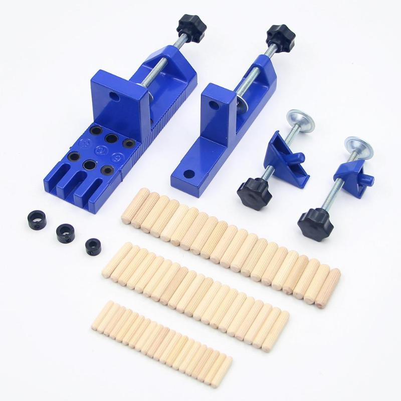 Wood Hole Jig Kit Hole Puncher Drilling Fixture Fast Clamping Device Strong Splint Durable Woodworking Tools Drill Guide Locator