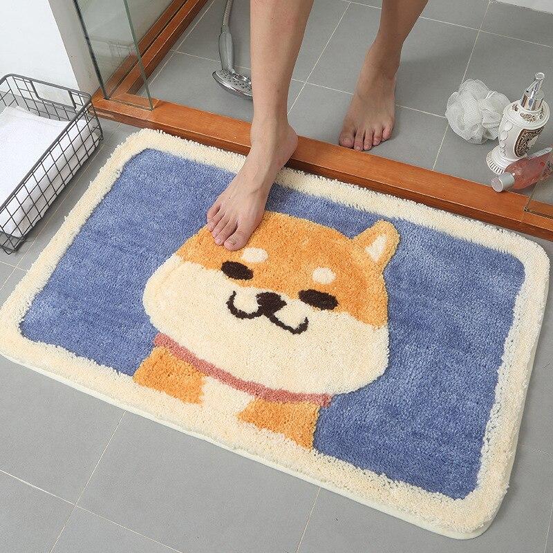 Cartoon Dogs Indoor Entrance Doormat Shaggy Flocking Rugs  Absorbent Foot Door Mat Machine Wash Anti skid Kitchen Bathroom RugMat