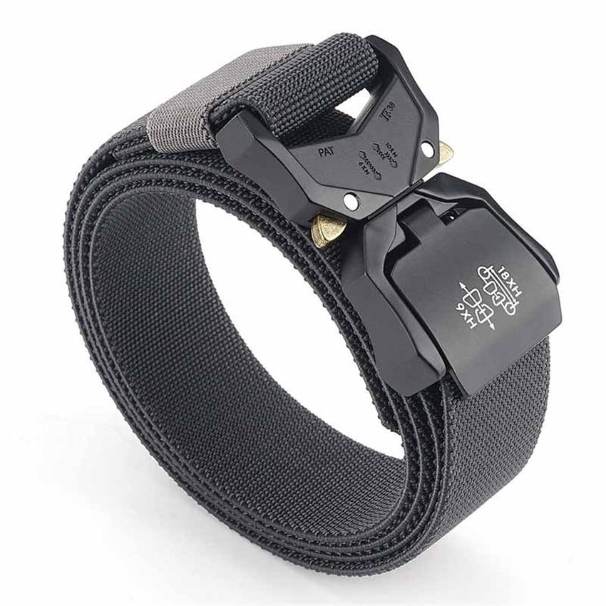 Elastic Jeans Belt For Men Aluminum Alloy Pluggable Buckle Training Tactical Belts Comfortable High Quality Male Belt Hunting