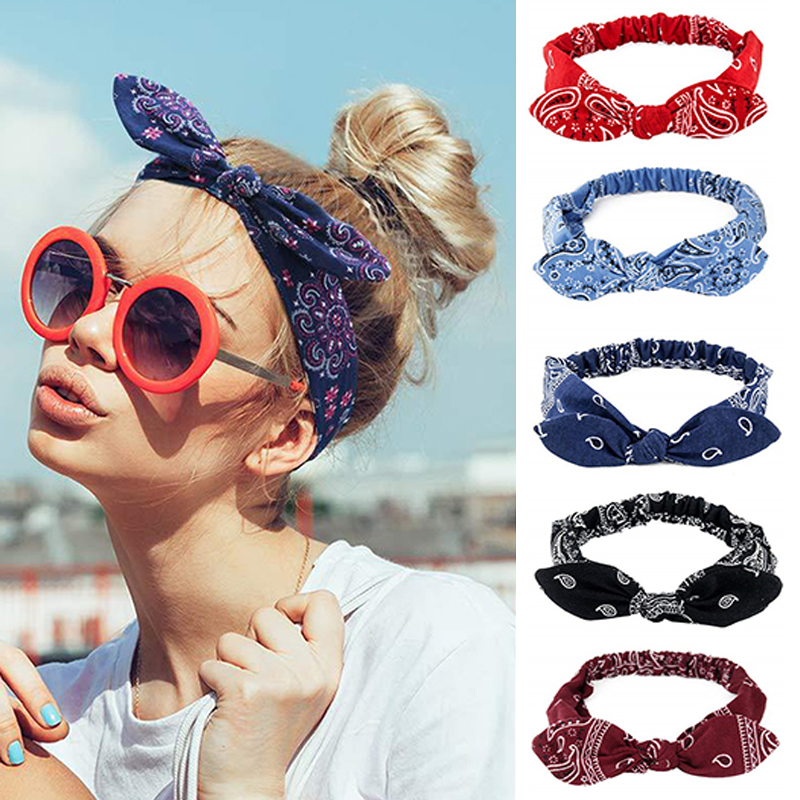 Women Sweet Hair Bands Print Headbands Retro Hair Accessories Girls Cross Turban Bandage Hair Bands Headwrap Summer Headwear