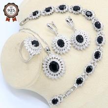 цена на Plant Black Zircon 925 Silver Jewelry Set for Women Bracelet Earrings Necklace Pendant Ring Gift Box