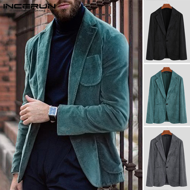 INCERUN Fashion Men Blazers Corduroy Coats Long Sleeve Solid Outerwear Casual Business Streetwear Blazer Suits Jackets Men 2019