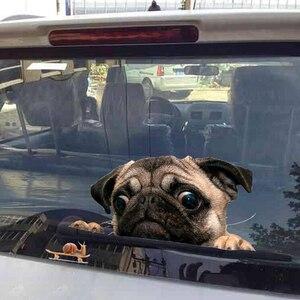Image 2 - 面白い 3Dパグ犬時計カタツムリ車の窓デカールかわいいペット子犬ラップトップのステッカーpvcステッカー車の装飾アクセサリー