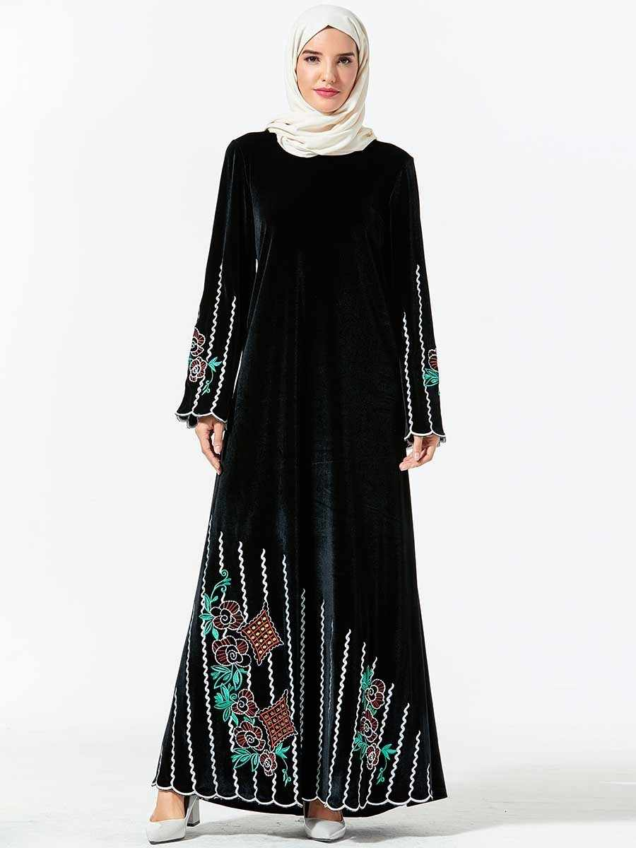 Casual Muslim Embroidery Abaya Velvet Maxi Dress Hijab Long Robe