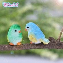 8pcs Simulation Little Parrot bird action figure plastic cartoon Animal Model garden decoration figurine one piece Gift for Kids