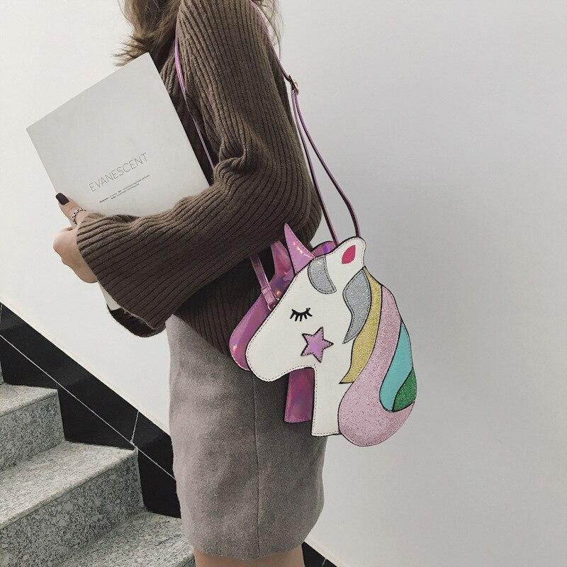 Personality laser womens bag cartoon lovely unicorn oblique satchel shining rainbow five-star reflection single shoulder