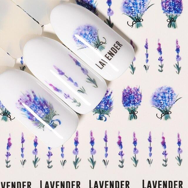 1 лист наклейки для ногтей водяные цветы серии Маргаритка Лаванда наклейки для ногтей животные серии океан кошка растение переводная наклейка