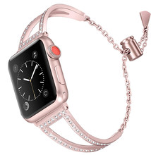 Rosa oro Bling bandas para reloj Apple Watch banda 38mm 42mm 40mm 44mm Iwatch Series4 3 2 1 pulsera de Metal con correa de acero inoxidable para mujer(China)