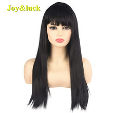 Joy&luck Fashion Long Straight Wig with Bangs Synthetic Natural Black Color Wig for Women(China)