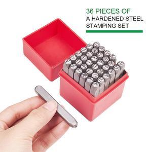 Image 5 - 36 pz/scatola di Ferro In Metallo Tenuta Francobolli Set Tra Cui Lettera A ~ Z Numero 0 ~ 8 e Ampersand & Nero metallo Tag Pendant Strumento di Stampaggio