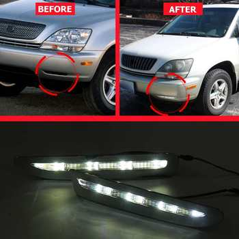 12V LED Daytime Running Light For Lexus RX300 RX330 RX350 1998 1999 2000 Car Accessories Waterproof ABS DRL Fog Lamp Decoration