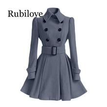 Rubilove 2019 Autumn Winter Women Overcoat Slim A-Line Solid Sash Double-Breasted Lapel Neck Mid-Long Fashion Warm Trench Coat O
