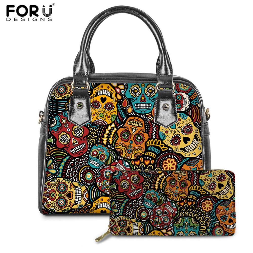 FORUDESIGNS Vintage Women Gothic Handbags Day Of The Dead Skull Pattern Luxury Brand Hand Bags Ladies PU Messenger Bag Purse Set