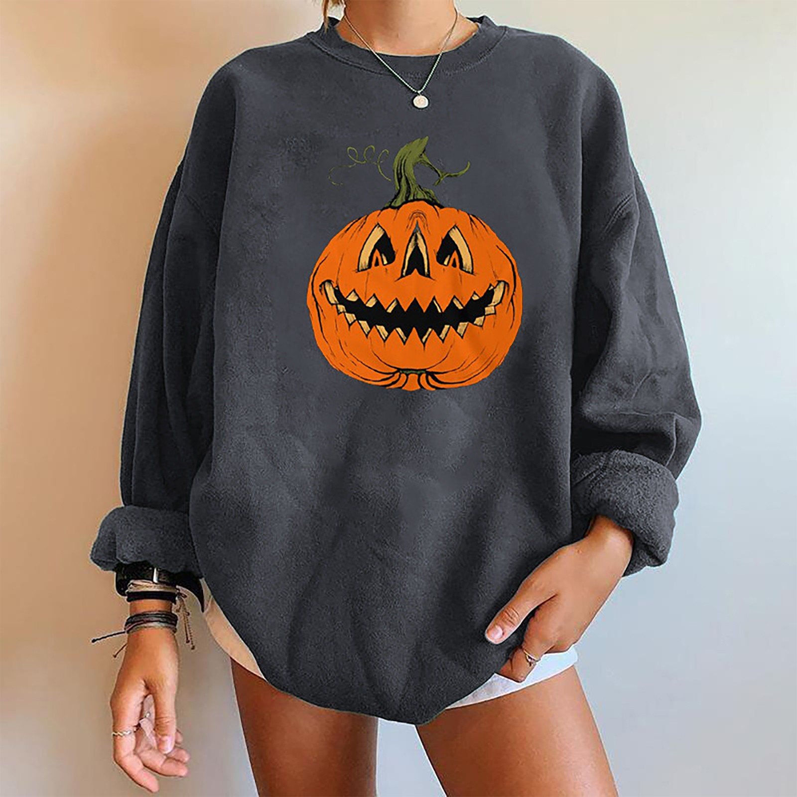 Women's 2021 Halloween Pumpkin Print T-Shirts Casual Long Sleeve Tops Shirts Loose O-Neck Female Tee poleras mujer