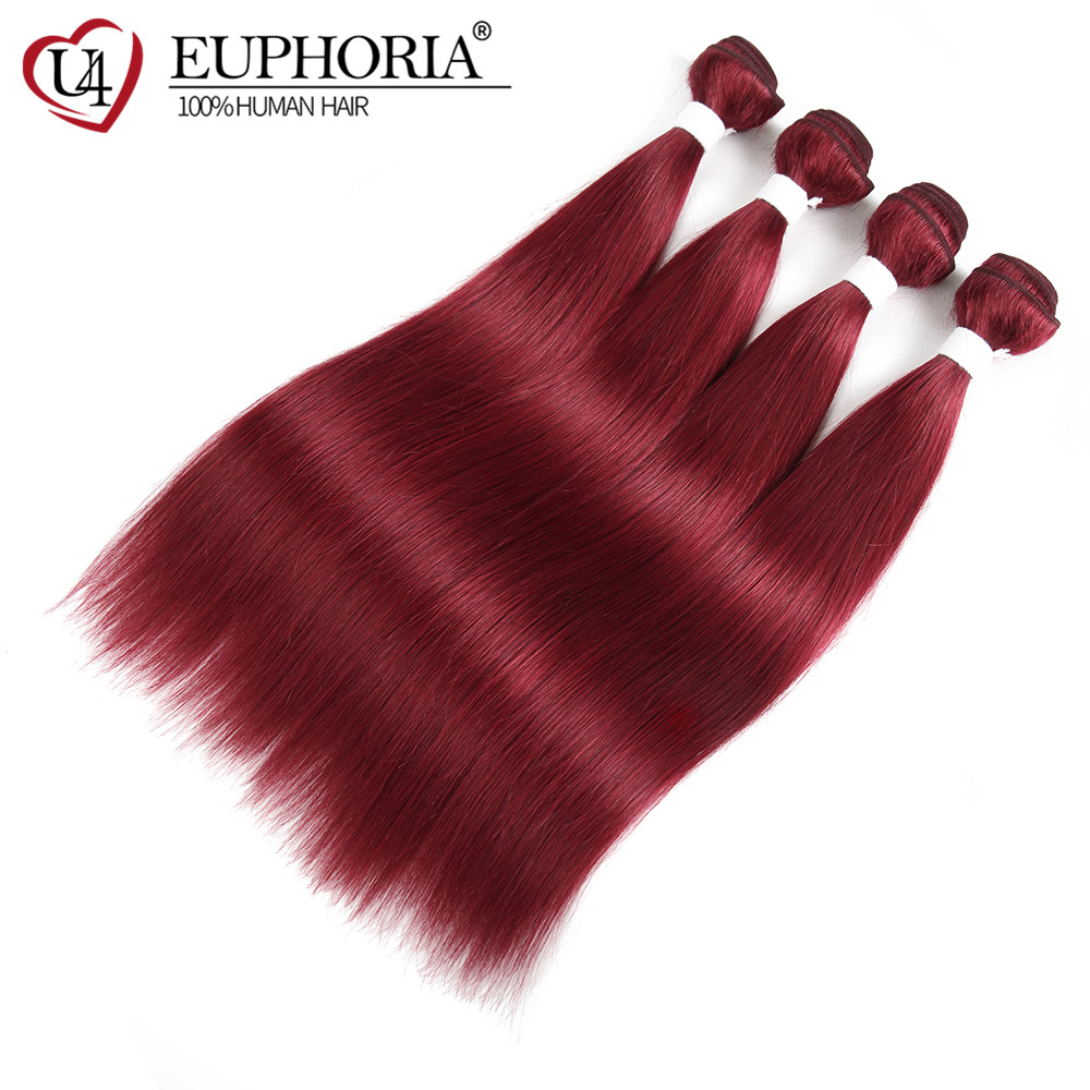 99J/Burgundy Red Color Brazilian Straight Bundle Hair Weave Human Hair 1/3/4/10 Bundles Euphoria 100% Remy Human Hair Weft
