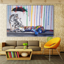 Graffiti Oil Painting Tigers Animal Pictures Colorful Umbrella Canvas Wall Art For Livinng Room Family NO FRAME
