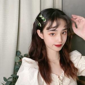 Image 2 - Pinces à cheveux en alliage avec strass verts de style rétro pour femmes, 1 pièce, petites et exquises, accessoires pour cheveux