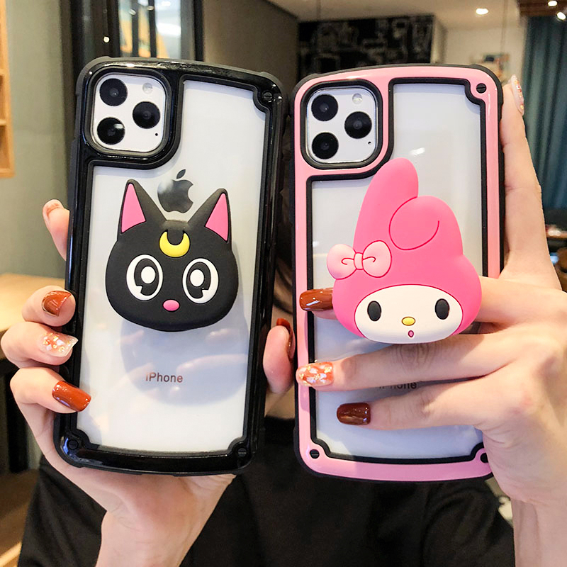 <font><b>For</b></font> <font><b>iphone</b></font> 11 pro <font><b>Max</b></font> luna cat Full Cover <font><b>armor</b></font> <font><b>case</b></font> <font><b>For</b></font> <font><b>iphone</b></font> <font><b>XS</b></font> <font><b>Max</b></font> <font><b>X</b></font> XR 8 plus 7 6S sakura melody shockproof capa + stander image