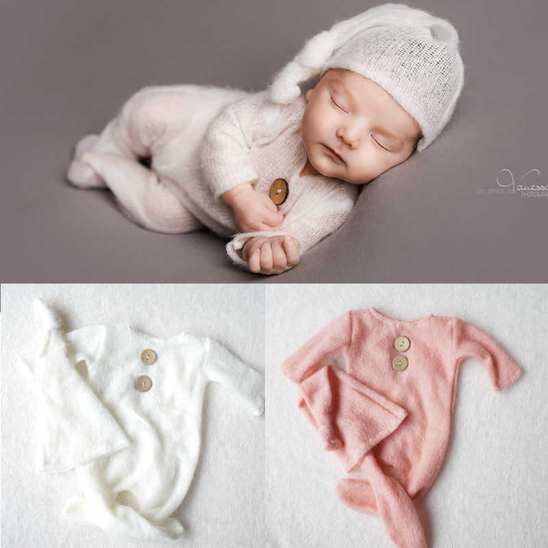 Crochet Mohair Bebe Fotografia Baby Clothes Newborn Photography Props Boy Hats Romper Set Indoor DIY Photo Studio Accessories