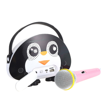 Children Portable Bluetooth Speaker Wireless Soundbar Karaoke Machine With Microphone Interactive Toy Gift For Kids-Black White