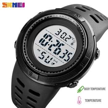 SKMEI LED Alarm Watches Men Body Ambient Temperature Tracker Mens Sport Digital Wristwatches Male reloj hombre 1251 Upgrade 1681