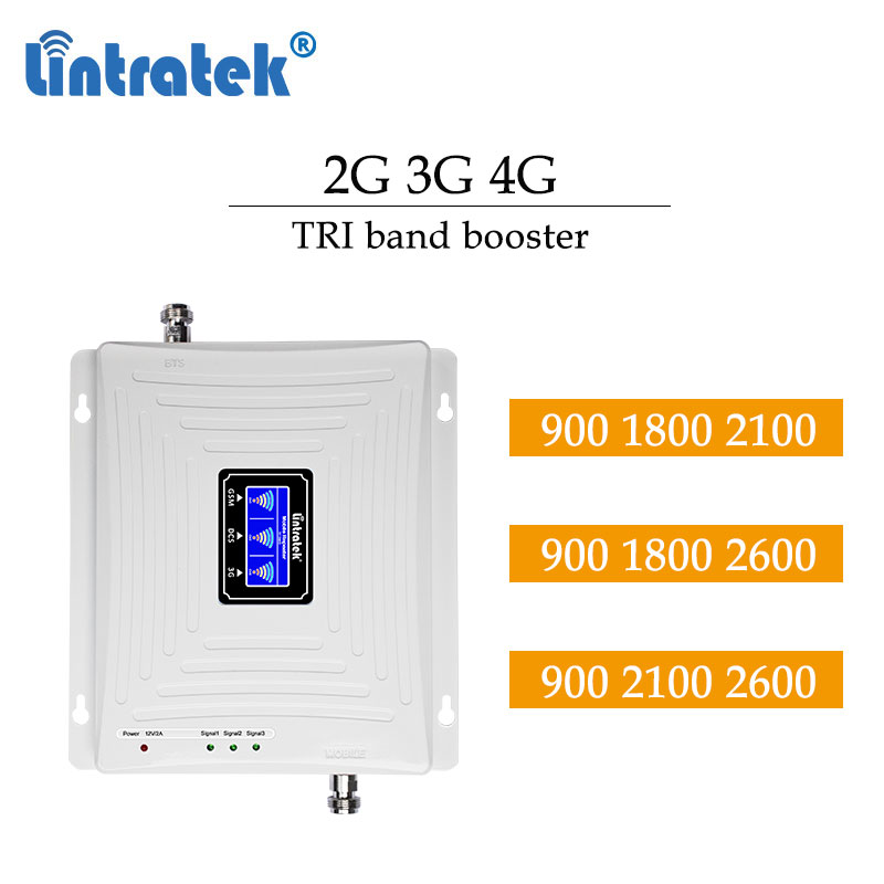 Lintratek 2G 3G 4G 900 2100 1800mhz 2600mhz 4g Cellular Booster Tri Band Cell Phone GSM LCD Display LTE Repeater Amplifier #dd