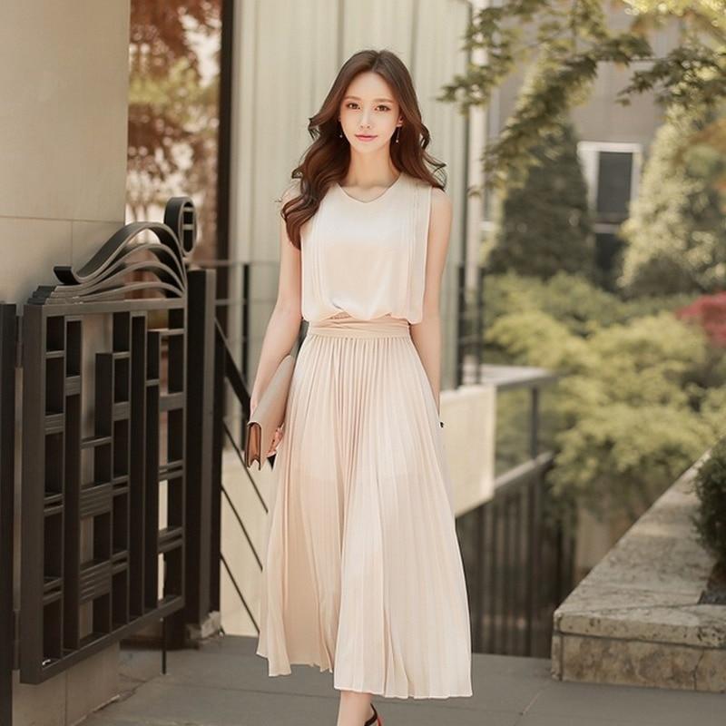 2020 Spring Summer Chiffon Pleated Dress Slim Sleeveless Wrinkled Midi Dress